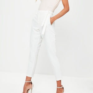 Belted white dressy white trouser pants